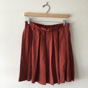F21 Contemporary Pleated Skirt/Burnt Orange